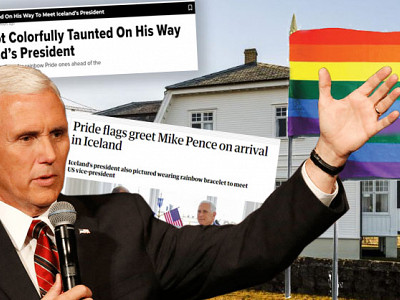 Mike Pence greeted with a colorful support for LGBT+ rights